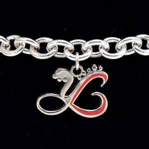 Picture of Sterling Silver Bracelet with Red Charm